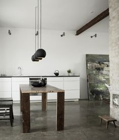 Beautiful artist home & studio with heated concrete floors, slate grey kitchen counter, rustic wooden dining table, and dramatic black stair by Norm Architects. Interior Design Blogs, Interior Design Minimalist, Interior Inspiration, Interior Designing, Design Interiors, Design Inspiration, Küchen Design, House Design, Design Ideas