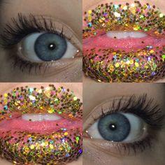 #groovy #glitter #makeup #eyes #lips