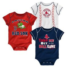 Boston Red Sox Boys' 3pk Bodysuit Crawlers 12M, Size: 12 Months, Multicolored
