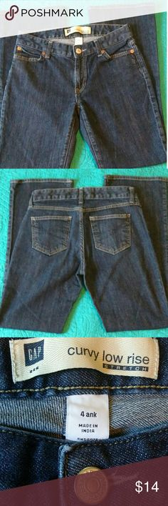 Gap curvy low rise stretch jeans!  Size 4. Gap curvy low rise Stretch ankle jeans size 4.  Nice condition.  14 inches across front waist and 27.5 inch inseam.  They say ankle but I would go by the inseam because they don't seem short. GAP Jeans Ankle & Cropped