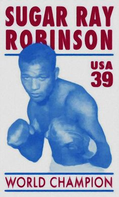 Sugar Ray Robinson returns to the Ring to a 'Stamping Ovation' of 100 million Sugar Ray Robinson, Boxing Posters, Boxing History, Boxing Champions, Black History Facts, Sports Figures, We Are The World, African American History, Stamp Collecting