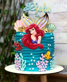 Little Mermaid Birthday Cake, Little Mermaid Cakes, Little Mermaid Parties, Baby Girl Birthday, Ariel The Little Mermaid, Sirenita Cake, Disney Princess Cupcakes, Ariel Cake, Mermaid Party Decorations