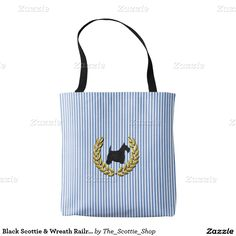 Black Scottie & Wreath Railroad Stripe Tote Bag
