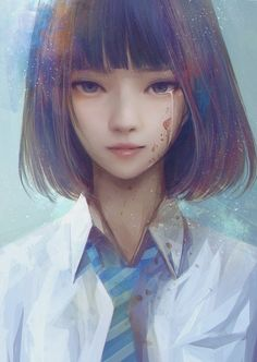 ArtStation - konya kimi ni korosareta to sitemo, wata boku Sad Anime Girl, Pretty Anime Girl, Beautiful Anime Girl, Kawaii Anime Girl, Anime Art Girl, Manga Girl, Pretty Art, Cute Art, Digital Art Girl