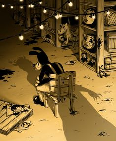 Boris during chapter three when he was with Alice Bendy And The Ink Machine, Bendy Y Boris, Boris The Wolf, Alice Angel, Just Ink, Arte Horror, Fanart, Indie Games, Game Art