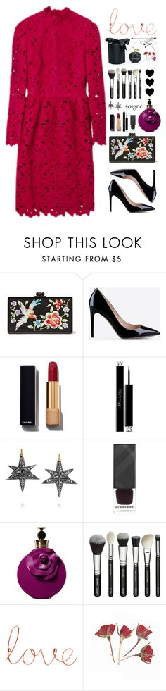 """""""Untitled #395"""" by pinkandgoldsparkles ❤ liked on Polyvore featuring Edie Parker, Valentino, Chanel, Christian Dior, Noor Fares, Burberry, D.L. & Co., women's clothing, women's fashion and women"""