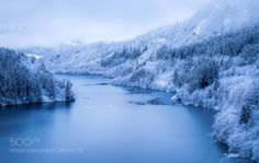 Winter wonderland in Bergen Norway. by EirikHland  trees sky landscape fog lake water cold nature blue clouds snow ice composition foggy Winter Light N