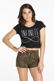 "INFINITE"" CROPPED TEE  50% OFF Regular Price: $17.50 Crop it like it's hot! Wear this season's cutest style, the cropped tee! Lace back design. Cropped. Cotton/Polyester.  T-SHIRT ÉCOURTÉ «INFINITE»   50% OFF Prix Régulier: 17.50 $ Stylée en hauts écourtés! Porte le style le plus convoité de la saison: le t-shirt écourté! Dos en dentelle. Écourté. Coton/Polyester.   QUANTITY LIMITED - QUANTITÉ LIMITÉ"