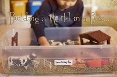 Building a World in a Box…Ideas for a farm, dinosaur, space, underwater kingdom and construction site sensory boxes.