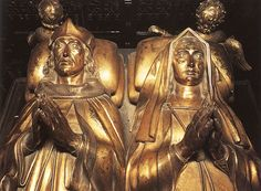 Henry VII and Elizabeth of York effigies in Westminster Abbey  - (She died first)