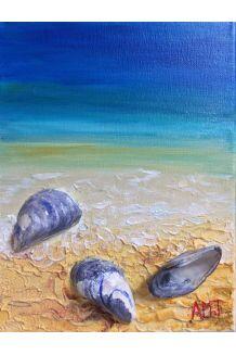 Experimenting with mixed media. Florida sand with Nova Scotia seashells. #beach #NovaScotia #painting #art #mixedmedia