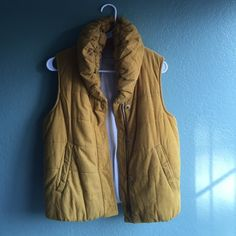 Anthropologie mustard yellow vest like new! Pilcro for Anthropologie mustard yellow puffy vest! Super super cute, only worn a couple of times! Snap and zip closure, pockets, great condition! Anthropologie Jackets & Coats Vests