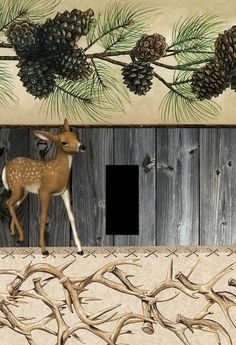 deer antlers lodge cabin rustic home decor Light switch plate cover outlets Art