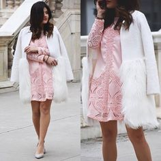 Pinky mood. #chicwish pinky mood crochet dress and Snow White faux fur coat. #chic #pink #white #style #outfit #ootd #fashionblogger #blogger #shop #sale #shoppingonline #fashion  @chicwish