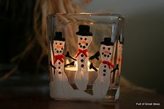 Your kids will be ready to help you with your homemade Christmas decorations because they get to make a Snowman Fingerprints Candle Holder. It's easy and fun, and you'll learn about how you can use paint on glass to make decorative Christmas crafts. Diy Holiday Gifts, Homemade Christmas Gifts, Homemade Gifts, Diy Gifts, Craft Gifts, Preschool Christmas, Christmas Activities, Winter Christmas, Christmas Holidays