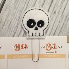 Skull - white - felt - Erin Condren Planner Accessories, Planner clip, bookmark, page clip, paper clip, planner accessories by createdbydanielle1 on Etsy https://www.etsy.com/listing/241317619/skull-white-felt-erin-condren-planner