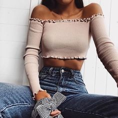 8 Colors Women's Fashion Sexy Off Shoulder Crop Tops Summer Casual Slim Tees Blouse - Outfits Look Fashion, Teen Fashion, Fashion Outfits, Fashion Trends, Latest Fashion, Feminine Fashion, Teenager Fashion, Fashion 2017, Fashion Clothes