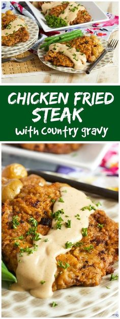 Chicken Fried Steak with Country Gravy Ready in just 30 minutes! This easy Chicken Fried Steak with Country Gravy recipe is super simple to make. The BEST comfort food and a hit with the whole family. Beef Steak Recipes, Beef Recipes For Dinner, Easy Chicken Recipes, Meat Recipes, Beef Meals, Oven Recipes, Beef Welington, Sirloin Recipes, Lunch Recipes