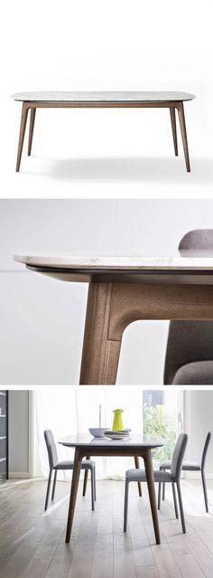 Novamobili Produziert Diesen Exklusiven Tisch Hanami Mit Einer Tischplatte  In Carrara Marmor Oder Holzfurnier. #