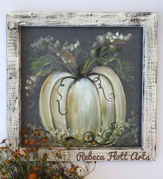 Simple rustic white pumpkin - New Deko Sites Fall Canvas Painting, Autumn Painting, Autumn Art, Canvas Art, Fall Paintings, Pumpkin Painting, Tole Painting, Painting Studio, Canvas Ideas