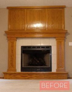 before and after an oak veneer fireplace gets a makeover