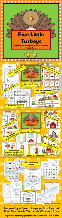 $ Thanksgiving Flipbook,activities for Phonological Awareness, Prepositions, Matching, Naming & more!