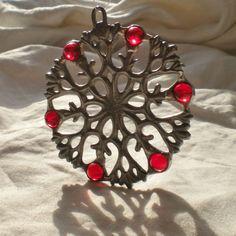 Cast Metal and Glass Snowflake Suncatcher by katescauldron on Etsy, $15.00