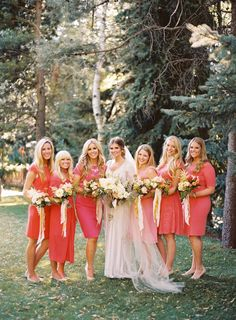 Coral dresses: http://www.stylemepretty.com/2014/02/25/how-to-add-a-pop-of-color-to-your-wedding/