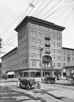 """Burlington, Vermont, circa 1913. """"New Sherwood Hotel, Church and Cherry Sts."""" Destroyed by fire in 1940. 7x5 inch dry plate glass negative."""