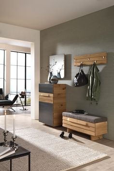 Garderobe von VOGLAUER Entryway Furniture: Do Not Neglect Your Foyer! Is your houses entryway neglec Modern Wood Furniture, Entryway Furniture, Cabinet Furniture, Cheap Furniture, Living Room Furniture, Garderobe Design, Home Engineering, Light Gray Cabinets, Living Room Grey