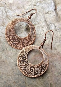 Copper Hoop Earrings / Etched Copper Earrings / by Lammergeier, $28.00