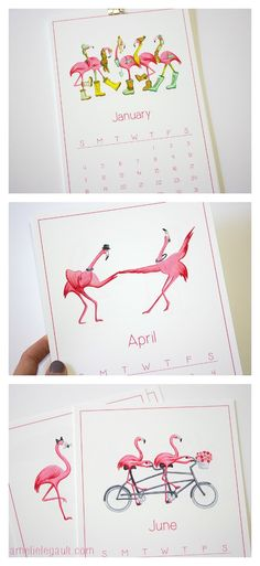2015 Calendar of Pink Flamingos by Amelie Legault Illustration $25.00 Click here to buy your calendar: https://www.etsy.com/ca/listing/168903228/pink-flamingo-2015-calendar-in-english?ref=shop_home_active_1 #flamingo #2015calendar #amelielegault
