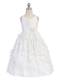 White Floral Appliques Taffeta Flower Girl Dress - Flower Girl Dresses - GIRLS