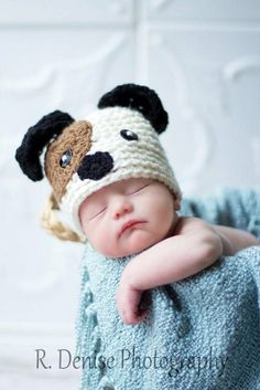 043a Puppy Dog Newborn Baby Crochet Hat. Great for Photo Prop