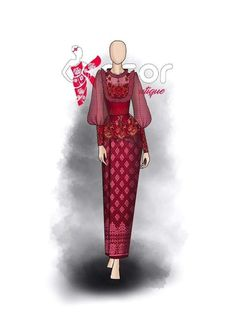 Army Look, Myanmar Dress Design, Fashion Illustration Sketches, Native Style, Fashion Design Drawings, Red Carpet Dresses, Designs To Draw, Traditional Outfits, Formal Dresses