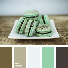 You should combine calm brown colours saturated with cold hues with more bright and fresh hues. Mint green colour or pale gray are suitable for this purpos.