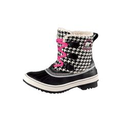 Womens Sorel Tivoli Duck Boot, Black/White Houndstooth, at Journeys Shoes ($100) found on Polyvore