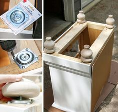 repurposed furniture Add new feet to entry bench - Updating a Knotty Pine Nightstand Furniture Repair, Diy Furniture Projects, Furniture Legs, Furniture Making, Furniture Makeover, Bedroom Furniture, Furniture Update, Furniture Stores, Cheap Furniture