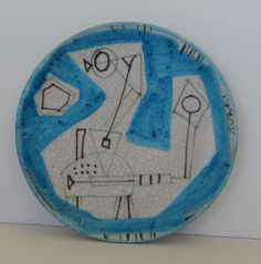 Guido Gambone Signed Geometric Hanging Plaque  | From a unique collection of antique and modern ceramics at https://www.1stdibs.com/furniture/dining-entertaining/ceramics/