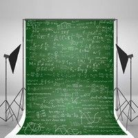Wish | 5x7ft Green Photography Backdrops Mathematical Formula Study Photo Background for Boys