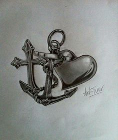 This one w color and initials! 13 Tattoos, Couple Tattoos, Love Tattoos, Body Art Tattoos, Tatoos, Anchor Tattoo Design, Heart Tattoo Designs, Navy Anchor Tattoos, Tattoo Anchor