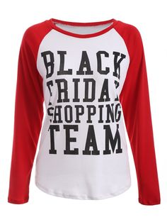 Raglan Sleeve Black Friday Print Tee in Red With White | Sammydress.com