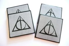 Harry Potter Ceramic Coasters  Deathly Hallows  by LumberjackLad, $14.00