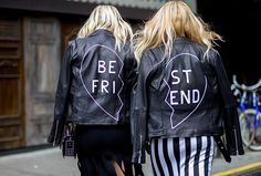 Custom leather jackets are worn with a black dress, left, and a striped dress, right.