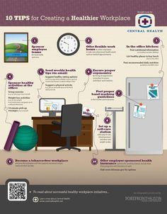 Una infografía que ofrece una decena de prácticos consejos para crear un lugar de trabajo saludable. Útil para quienes pasan muchas horas frente al PC.