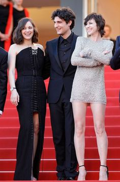 Cannes Film Festival 2017 | Marion Cotillard - wearing a Jean Paul Gaultier Couture gown and Chopard jewellery - with Louis Garrel and Charlotte Gainsbourg - in Saint Laurent.