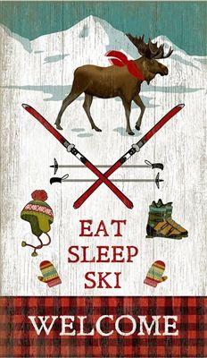 Eat Sleep Ski Welcome sign - Christmas winter sign