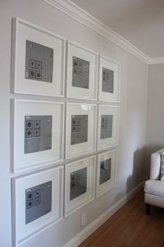 living room or upstairs hallway--IKEA ribba frames (or apparently michael's has $5 record frames that are 12'x12'....would have to just cut out the mat myself)