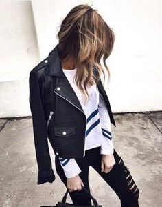 Leather jacket over anything // shop this necessary piece on Effinshop.com xx