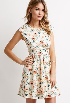 Cutout-Back Floral Print Dress | Forever 21 - 2000096808